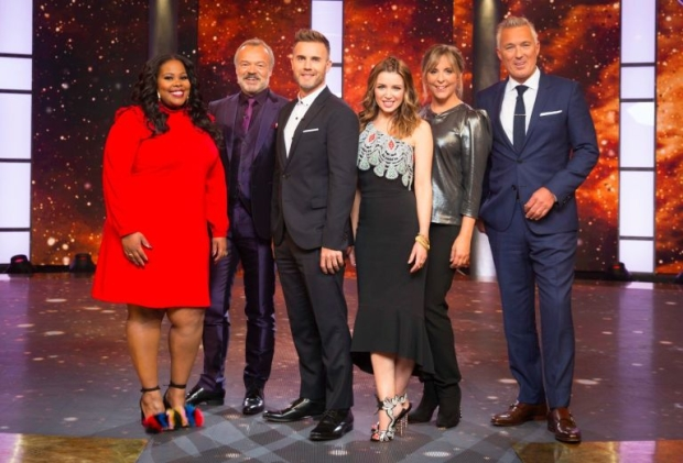 Amber Riley, Graham Norton, Gary Barlow, Dannii Minogue, Mel Giedroyc and Martin Kemp