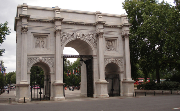 The Grade I listed Marble Arch in London