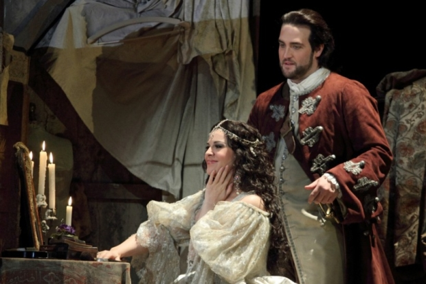 Angela Gheorghiu as Adriana and Brian Jagde as Maurizio in Adriana Lecouvreur (ROH)