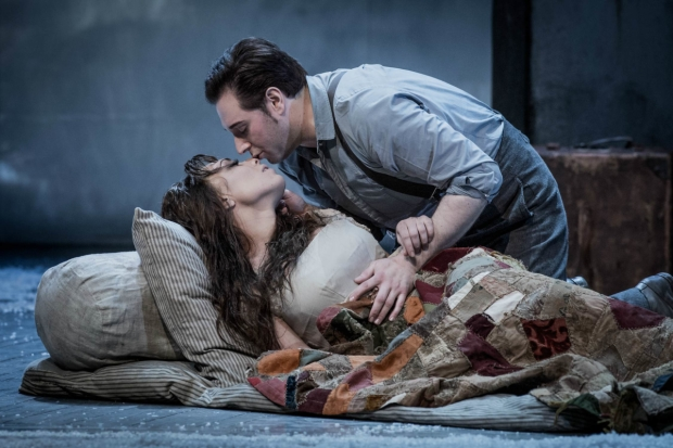 Marina Costa-Jackson as Mimì and Dominick Chenes as Rodolfo in La bohème (WNO)