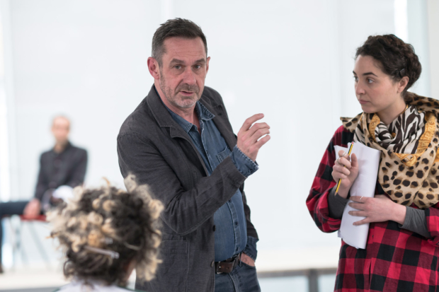 Paul Mason and Lara Sawalha in rehearsals for Kicking Off