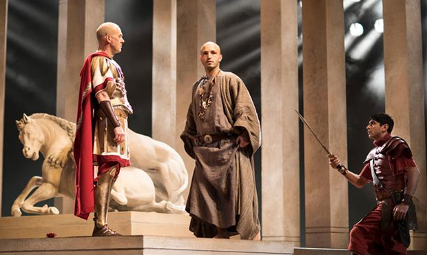 Andrew Woodall (Julius Caesar), Waleed Elgadi (Soothsayer) and Dharmesh Patel (Soldier)