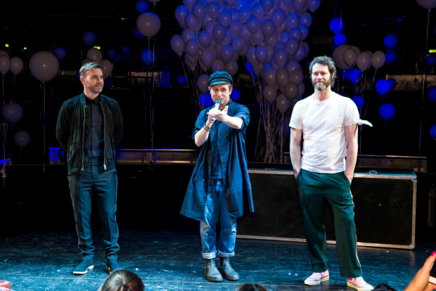 LtoR Gary Barlow, Mark Owen & Howard Donald at  The Band launch credit