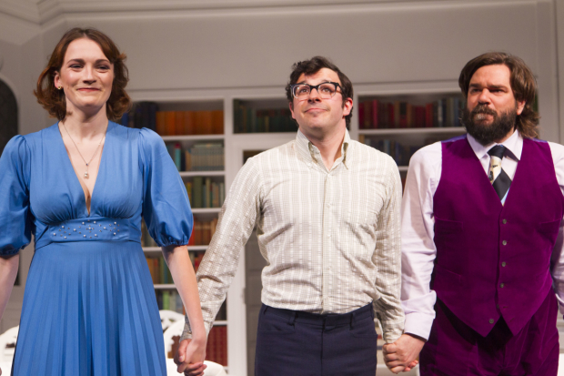 Charlotte Ritchie (Celia), Simon Bird (Philip) and Matt Berry (Braham)