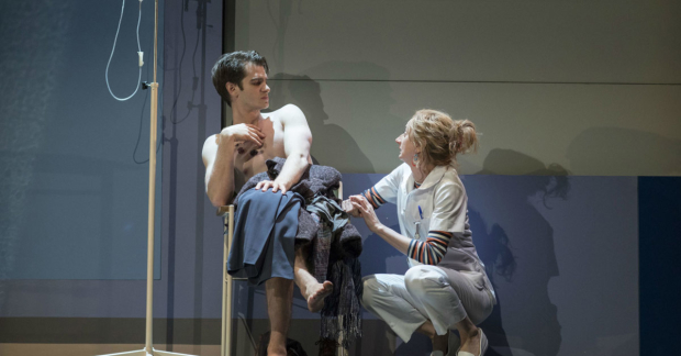 Andrew Garfield and Amanda Lawrence in the first part of Angels in America, Millennium Approaches