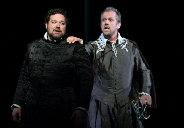 Bryan Hymel as Don Carlo and Christoph Pohl as Posa in Don Carlo (ROH)