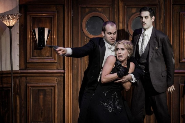 Ashley Riches as Don Giovanni, Lauren Fagan as Donna Anna and John Savournin as Leporello in Don Giovanni (OHP)