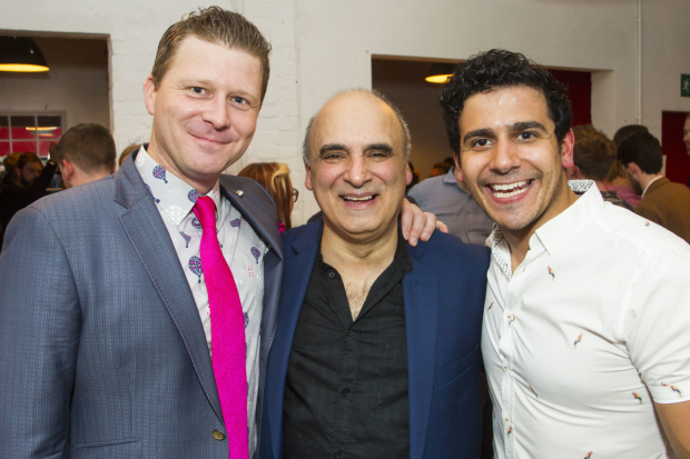 Dean Chisnall (Rex Winship), Peter Polycarpou (Mike Dillard) and Liam Tamne (Freddy Rodriquez) at the after party for Working
