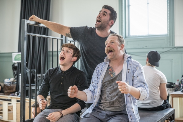 Craig Mather, Simon Lipkin and Rufus Hound in rehearsals for The Wind in the Willows