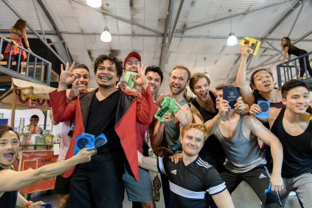 Red Concepcion (The Engineer) and company of Miss Saigon in rehearsals