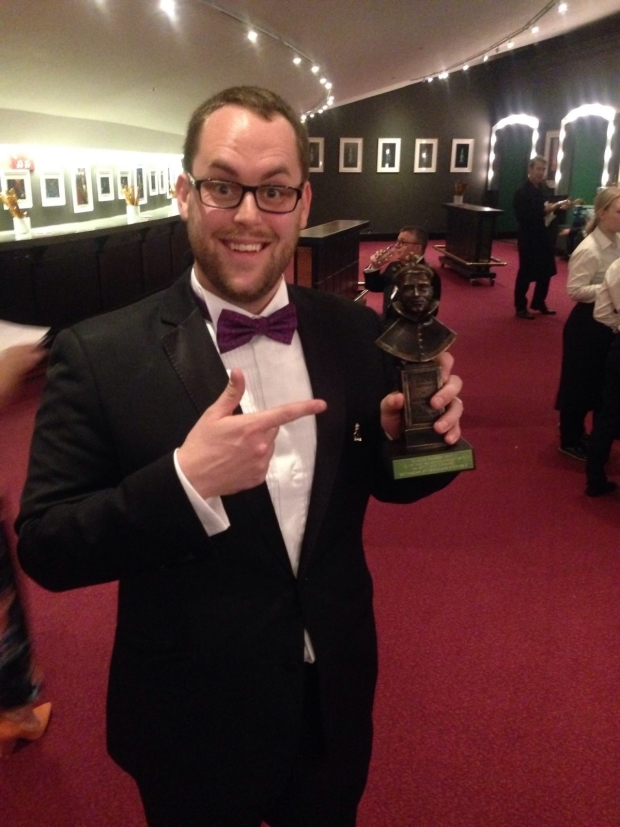 Jon Brittain having just won his Olivier Award