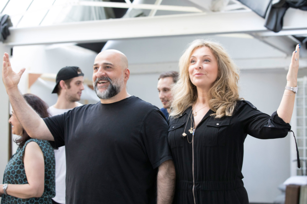 Omid Djalili and Tracy-Ann Oberman in rehearsals for Fiddler on the Roof