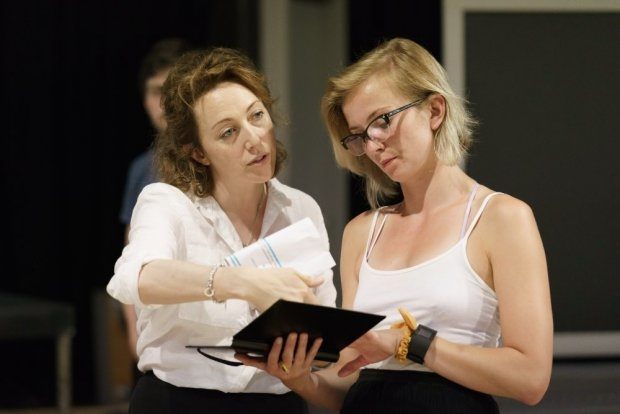 Clare Lawrence Moody and Sophie Melville in rehearsals for The Divide