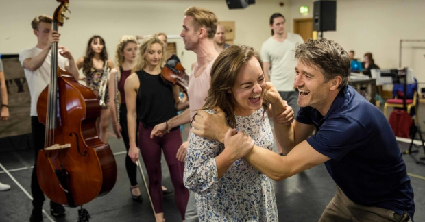 Charlotte Wakefield and Tom Chambers in rehearsals for Crazy for You