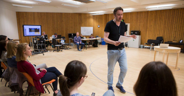 Rob Drummond and the community in rehearsals for The Majority