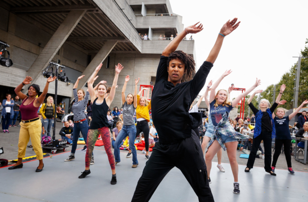Rambert doing a dance workshop on the River Stage