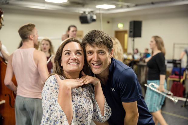 Charlotte Wakefield and Tom Chambers rehearsing Crazy For You