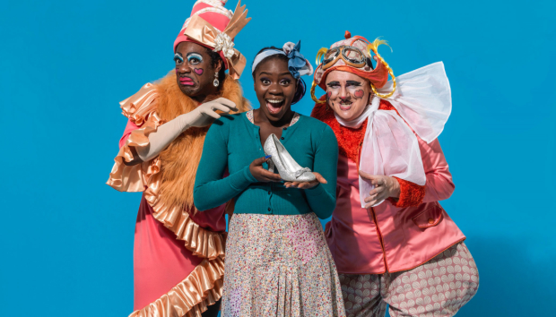 Aisha Jawando as Cinderella and Kat B and Tony Whittle as the Ugly Sisters in Hackney Empire's Cinderella
