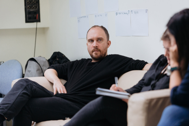 Chris Thorpe in rehearsals for Victory Condition