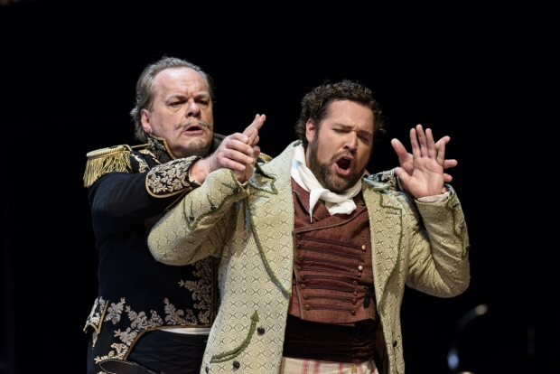Michael Volle as Montfort and Bryan Hymel as Henri in Les Vêpres siciliennes (ROH)