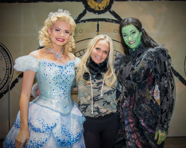 Sophie Evans, Kristin Chenoweth and Alice Fearn after a performance of Wicked in the West End