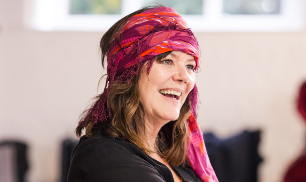 Josie Lawrence in rehearsals for Mother Courage and Her Children