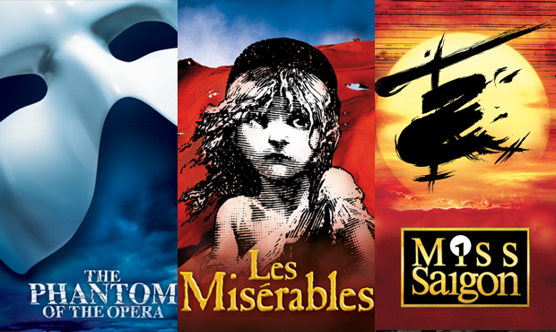 Posters for the West End productions of The Phantom of the Opera, Les Miserables and Miss Saigon