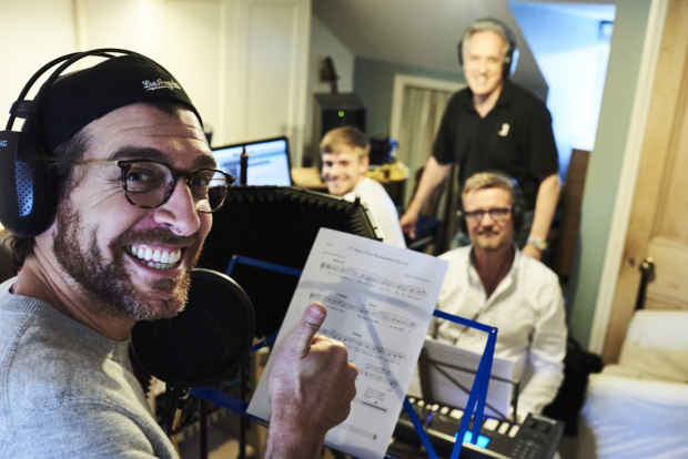 Tam Mutu with recording engineer Conor Manning and Tess creators Michael Blore and Michael Davies