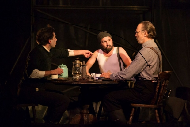 Paul Curievici as Sandy, Owain Browne as Blazes and Pauls Putnins as Arthur in The Lighthouse (Shadwell Opera)