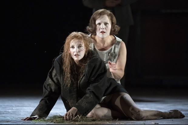 Jennifer France as Ophelia (foreground) with Louise Winter as Gertrude in Hamlet (Glyndebourne Tour)