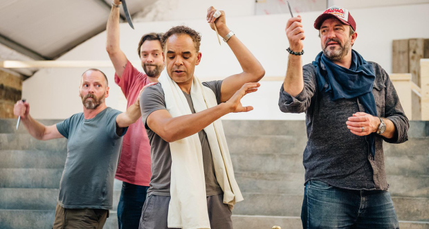 John Dougall, Nicholas Boulton, Peter de Jersey and Simon Thorp rehearsing for Cicero