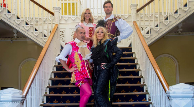 Louie Spence (Dandini), Michelle Collins (The Wicked Stepmother), Jayne Wisener (Cinderella) and Luke Kelly (Prince Charming) in Dartford Orchard Theatre's pantomime