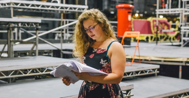 Carrie Hope Fletcher in rehearsals for The Christmasaurus Live