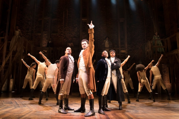 Cleve September, Jamael Westman, Jason Pennycooke, Tarin Callender and the West End cast of Hamilton