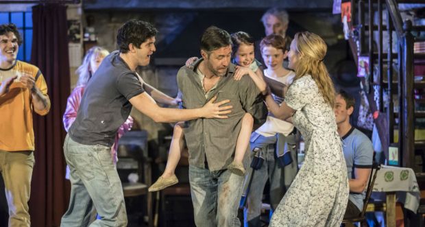 Fra Fee, Carla Langley, Niall Wright, Paddy Considine, Sophia Ally, Michael McCarthy, John Hodgkinson, Genevieve O'Reilly and Rob Malone in the Royal Court production of The Ferryman