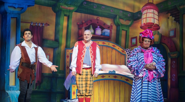 Liam Tamne, Al Murray and Clive Rowe in Jack and the Beanstalk