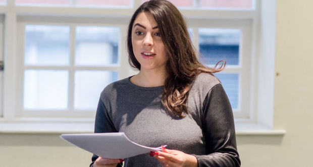 Sophie Khan Levy rehearsing for Hanna