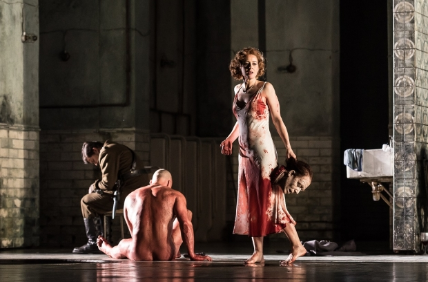Duncan Meadows as the Executioner and Malin Byström as Salome in Salome (ROH)