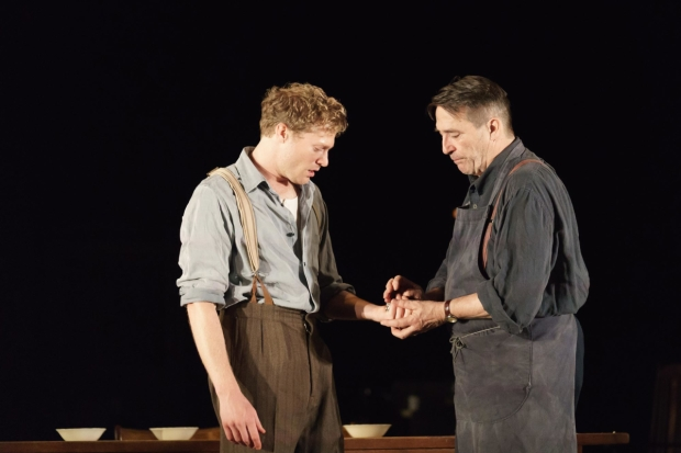 Sam Reid (Gene Laine) and Ciarán Hinds (Nick Laine) in Girl from the North Country