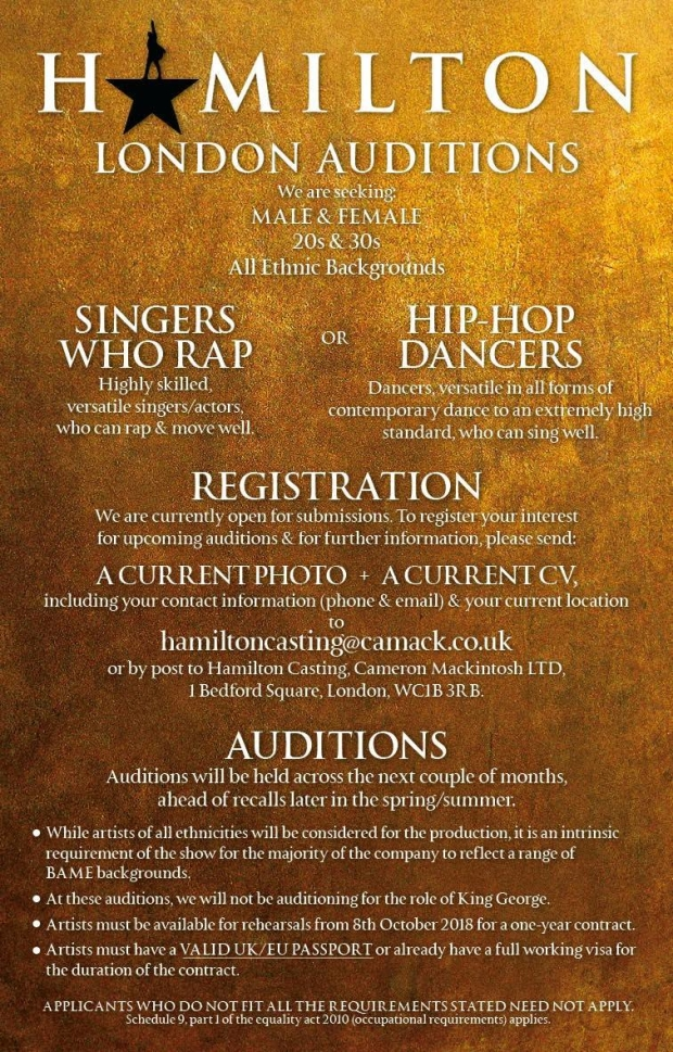Hamilton' West End is Holding Open Auditions for Actors, Rappers +