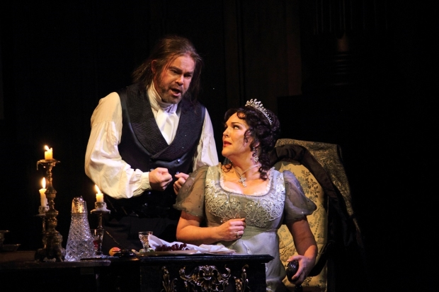 Gerald Finley as Scarpia and Adrianne Pieczonka as Tosca in Tosca (ROH)