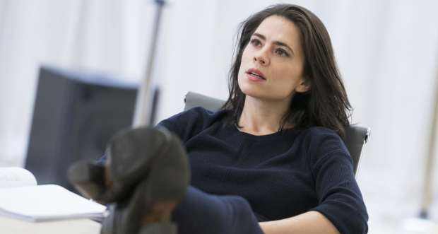 Hayley Atwell rehearsing for Dry Powder