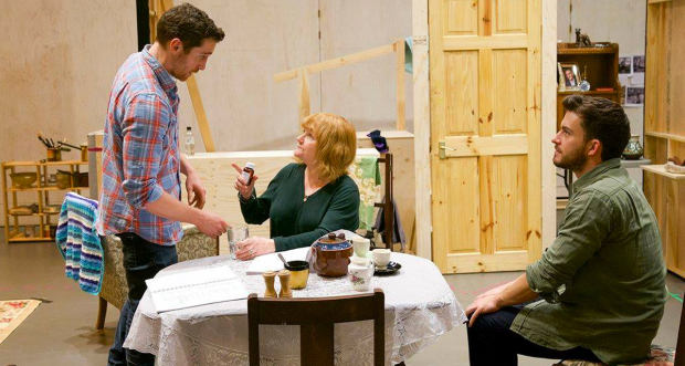 Ben Batt, Lesley Nicol and Jonathan Bailey in rehearsals for The York Realist