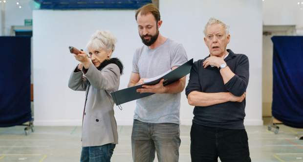 The cast rehearsing for The Shadow Factory