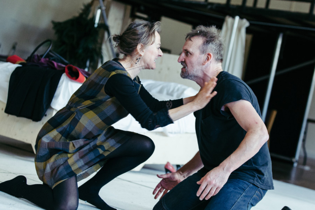 Niamh Cusack and Christopher Eccleston rehearsing Macbeth at the RSC