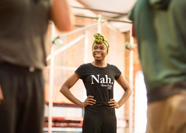 Joan Iyiola in rehearsals for The Duchess of Malfi