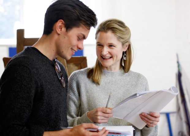 Freddy Carter and Naomi Frederick in rehearsals for Agnes Colander