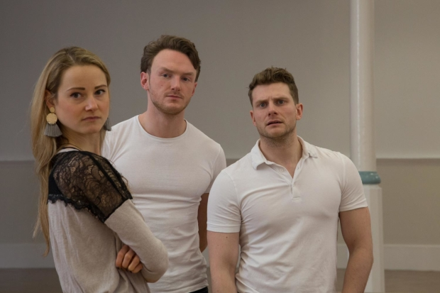 Mabel Clements, Joshua Hill and Eddie Eyre in rehearsals for The Country Wife