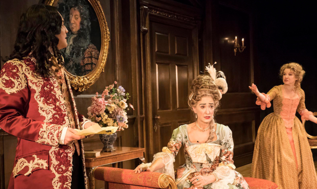 Alex Beckett (Waitwell), Haydn Gwynne (Lady Wishfort) and Sarah Hadland (Foible) in The Way of the World at the Donmar Warehouse, directed by James Macdonald and designed by Anna Fleischle