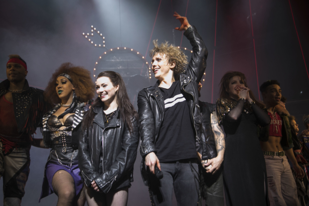 Christina Bennigton (Raven) and Andrew Polec (Strat) during the curtain call for Bat Out of Hell
